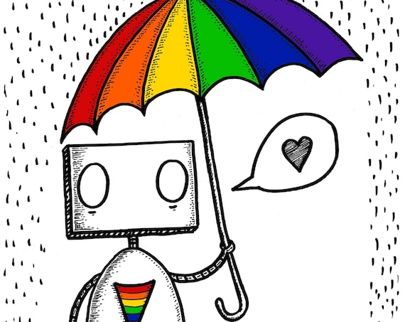 Rainbow Robot- art print by Jon Turner- LGBT Pride artwork
