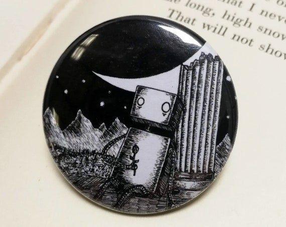Sic Transit Gloria Mundi Button Badge- Robot Pin