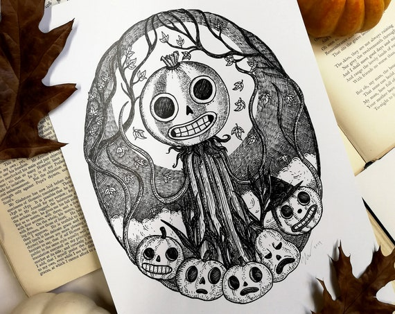 Patient Is The Night art print- Over The Garden Wall Inspired Enoch pumpkins