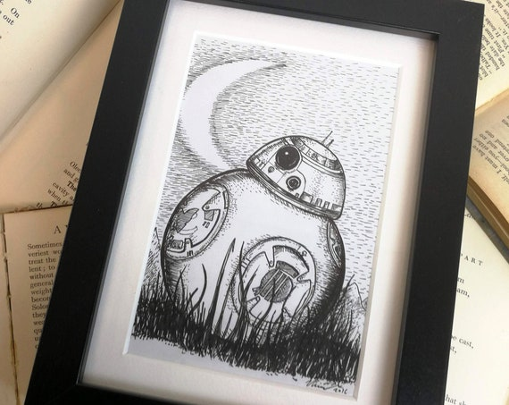 Far Far Away- Original ink drawing in black frame- BB8 inspired art