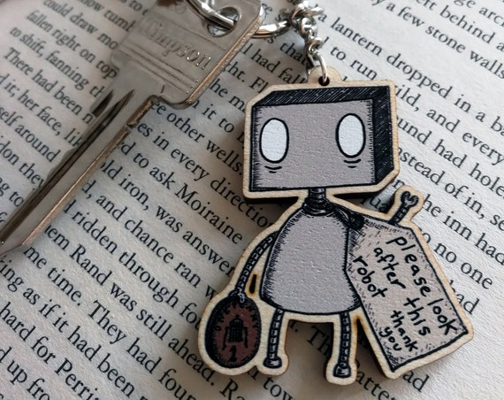 Please Look After This Robot Wooden Keychain