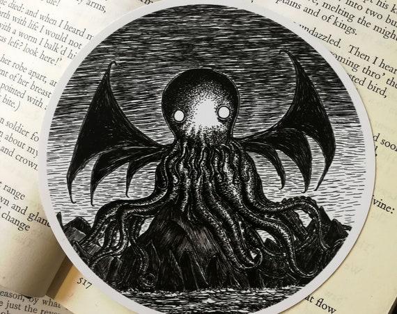 The Call of Cthulhu vinyl sticker- circular laptop sticker