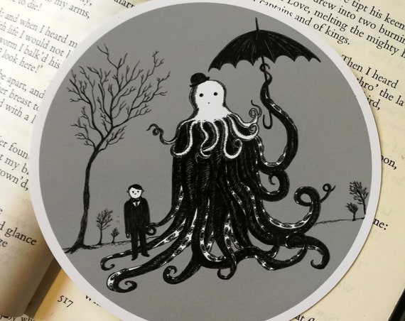 Young Master Lovecraft Finds A Friend vinyl sticker- circular Cthulhu laptop sticker