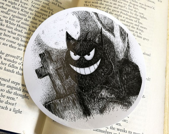 Gengar in a Graveyard vinyl sticker- Pokemon laptop sticker
