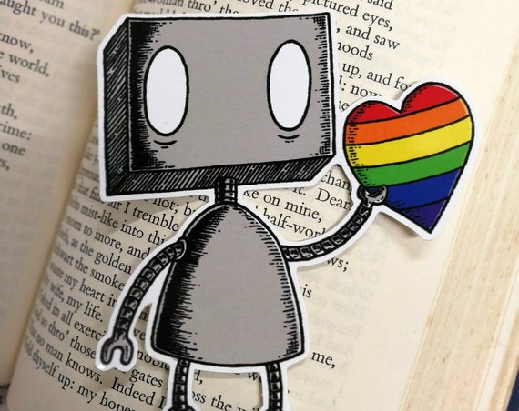 Rainbow Heart Robot vinyl sticker- LGBT pride laptop sticker