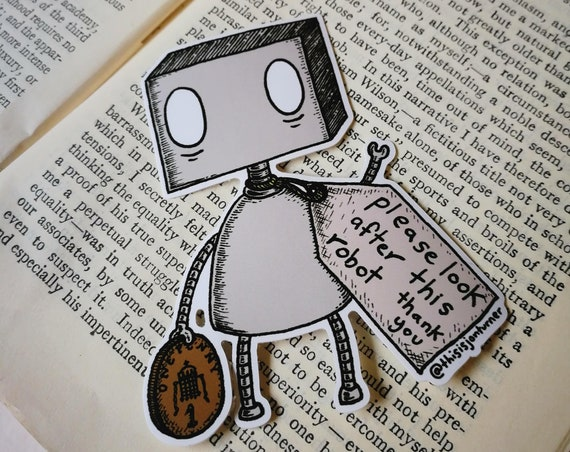 Please Look After This Robot vinyl sticker- laptop sticker