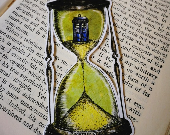 Time Flies vinyl sticker- Doctor Who Tardis in an hourglass laptop sticker