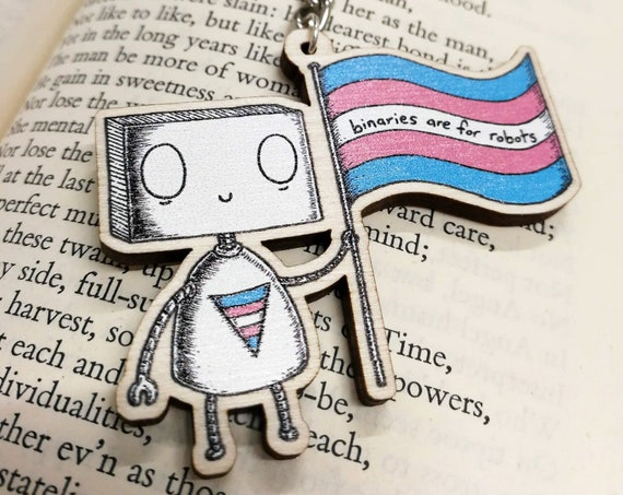 Binaries Are For Robots wooden keychain- Trans Pride