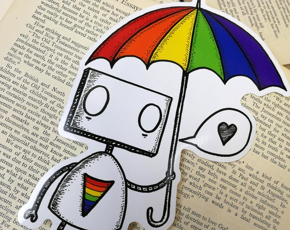 Rainbow Robot large vinyl sticker- LGBT pride laptop sticker