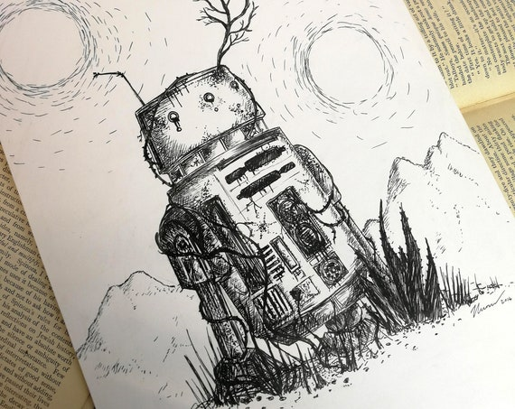 Bad Motivator- Original ink drawing- R5-D4 inspired art
