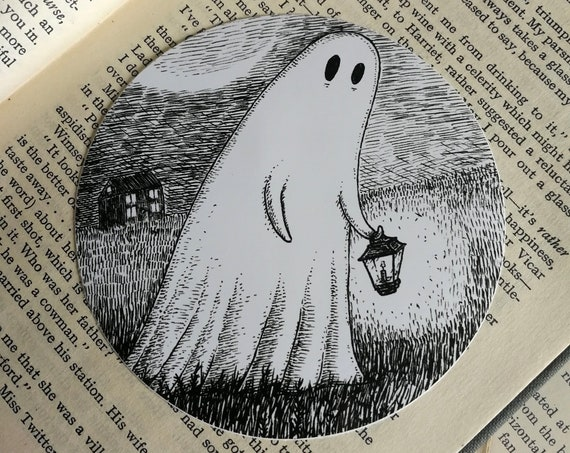 Wandering Ghost vinyl sticker- spooky laptop sticker