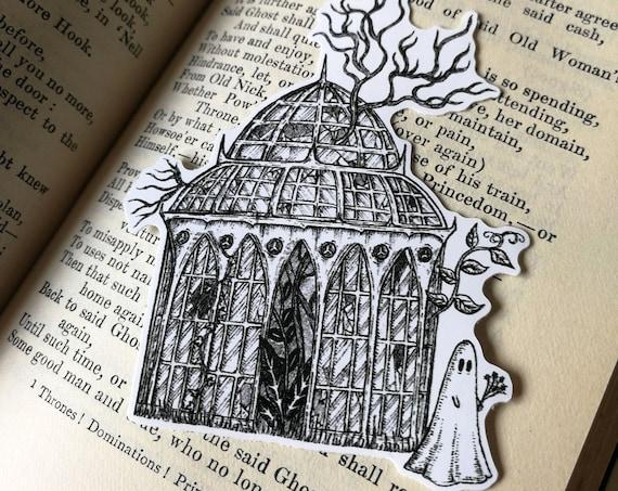 Glasshouse Ghost vinyl sticker- spooky laptop sticker