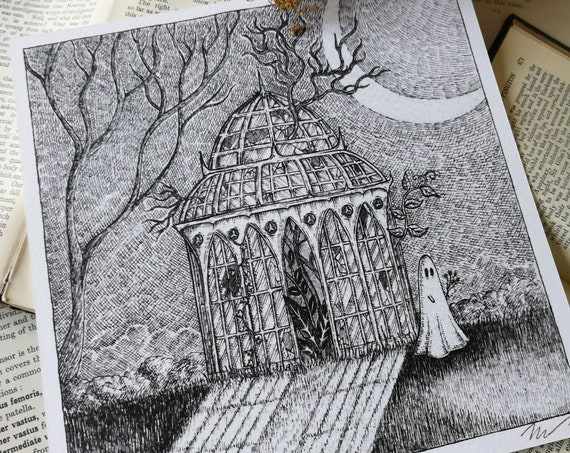 Glasshouse Ghost- Square Art Print With Poem