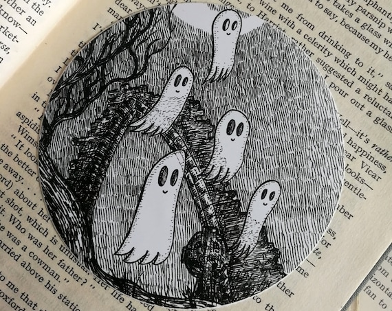 Graveyard Ghosties vinyl sticker- spooky ghosts laptop sticker