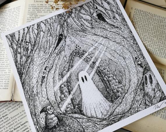 Deep Dark Woods- Square Art Print With Poem