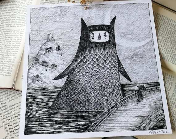 Lonely Sea Monster- Spooky Square Art Print With Poem