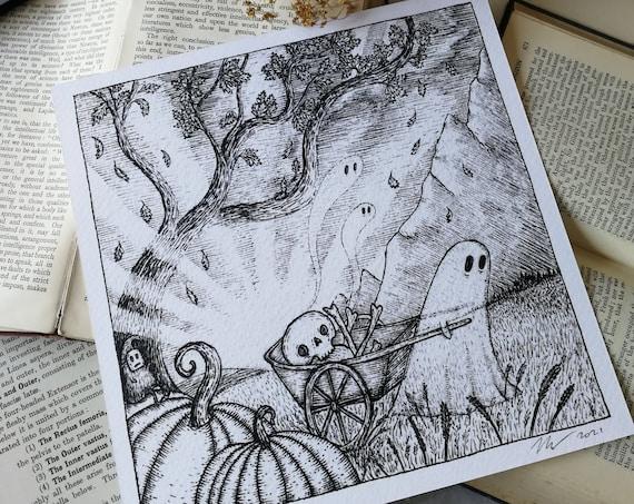 Bonecart Ghost- Square Art Print With Poem
