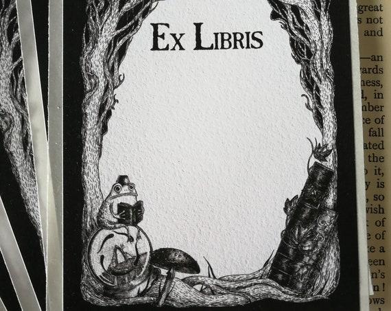 Studious Marshtoad Bookplate- Spooky Self-Adhesive Ex Libris