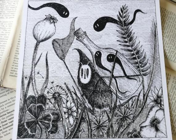 Spirit Catcher- Spooky Square Art Print With Poem