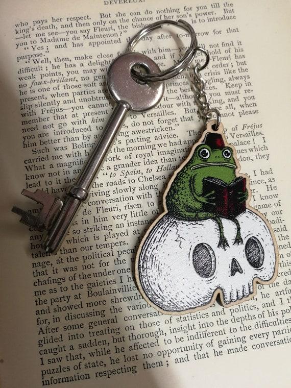 Studious Marshtoad Wooden Keychain