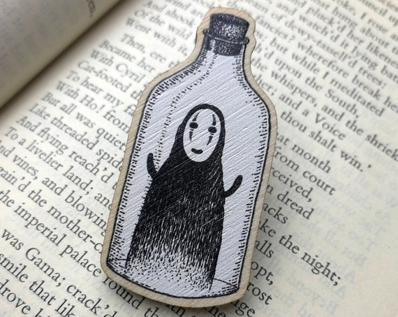 Spirit in a Bottle- Wooden Pin Badge- Spirited Away No Face