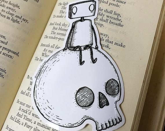 Skull Robot vinyl sticker- laptop sticker