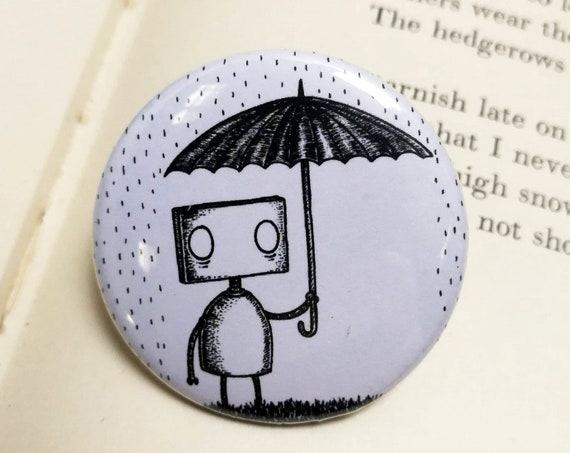 Rainy Day Robot Button Badge