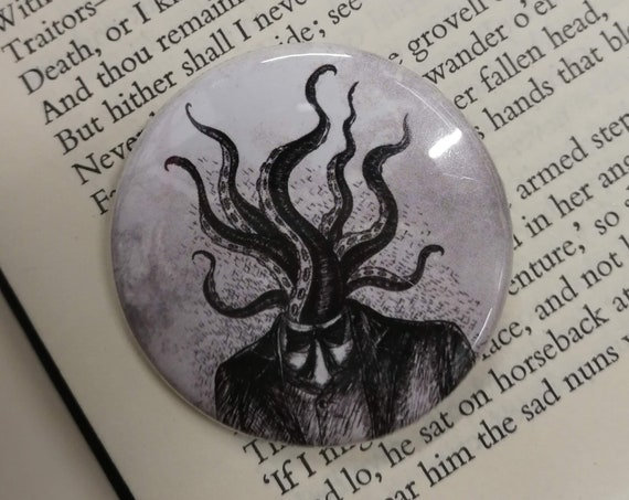 Tentacle Head Button Badge- Lovecraft Pin