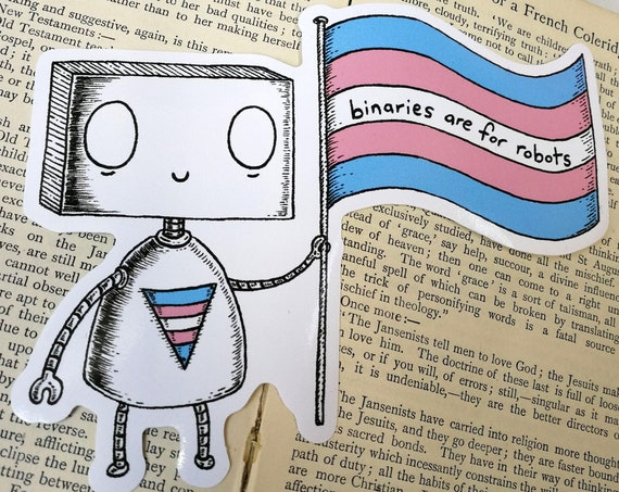 Binaries Are For Robots large vinyl sticker- Trans pride laptop sticker