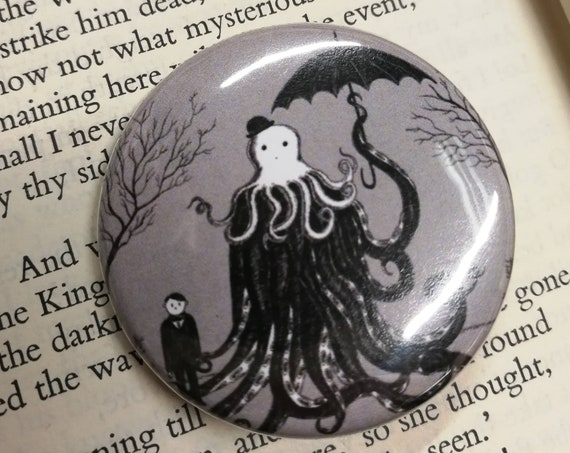 Young Master Lovecraft Finds A Friend Button Badge- Lovecraftian Pin