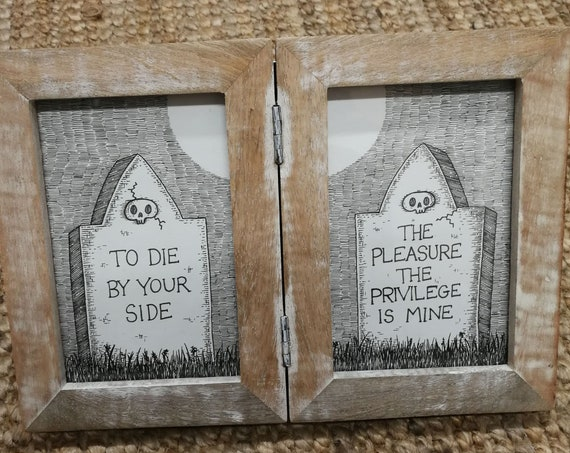 To Die By Your Side- Original double ink drawing in distressed wood frame- The Smiths inspired gravestone art