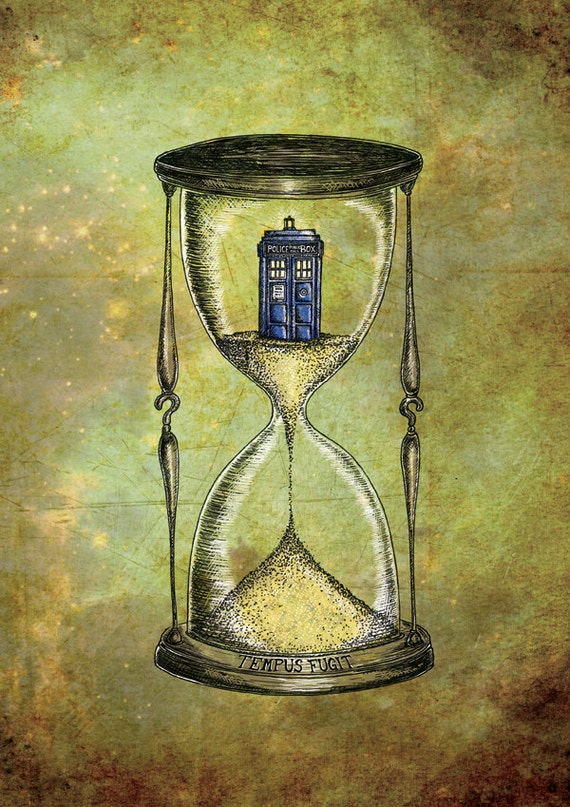 Doctor Who print - Time Flies - Dr Who Tardis Hourglass inspired art print