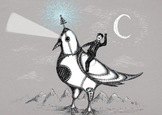 Nikola Tesla Riding A Giant Robotic Laser Pigeon- art print by Jon Turner