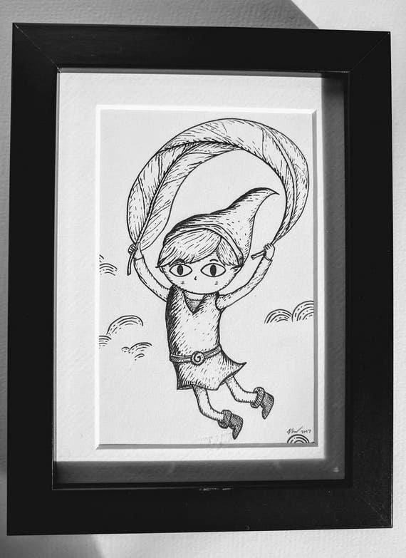 Deku Leaf Link- Original ink drawing in black frame- Zelda Wind Waker inspired art
