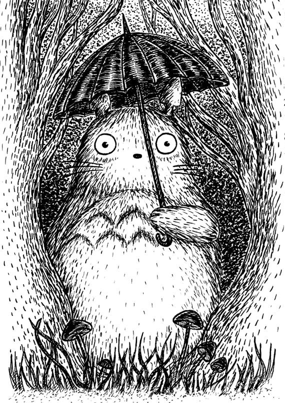 Woodland Neighbour- art print- Totoro Inspired- A3 A4 8x10