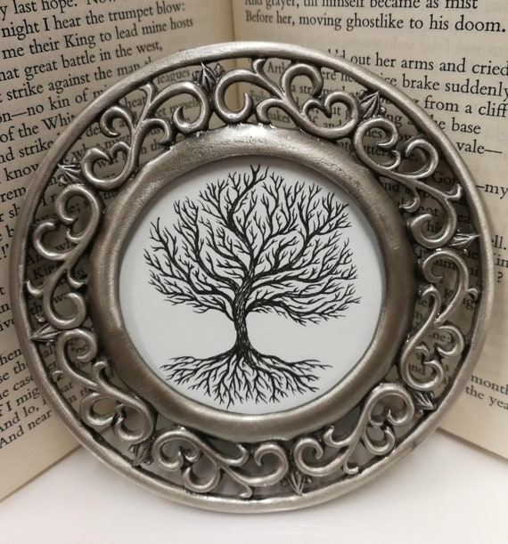 Winter Tree- Original ink drawing in vintage round metal frame
