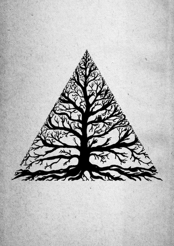 Treeangle- nature tree minimal art print by Jon Turner- A4 A3 8x10