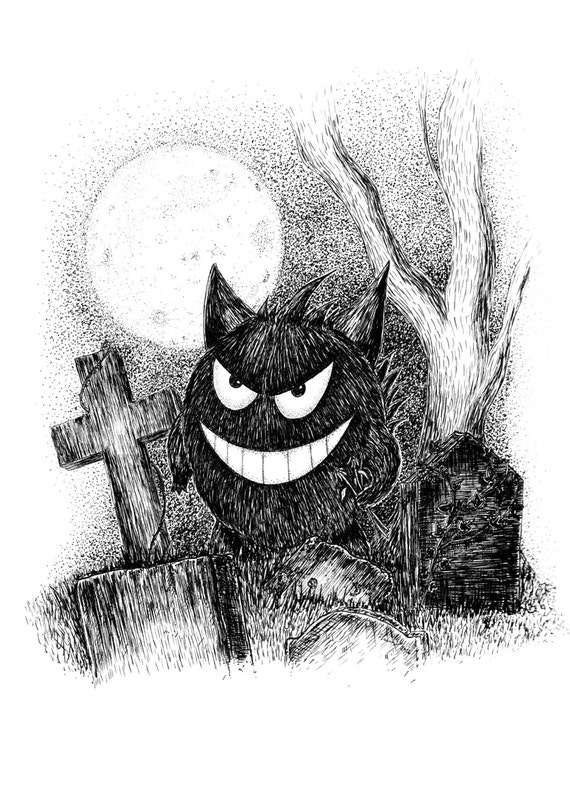 Gengar- pokemon inspired art print by Jon Turner- cute geeky artwork- a4 a3 8x10