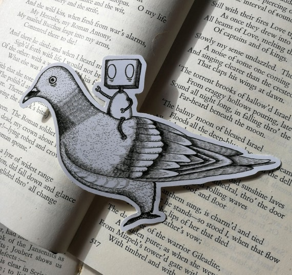 Robot on a Pigeon vinyl sticker- laptop sticker
