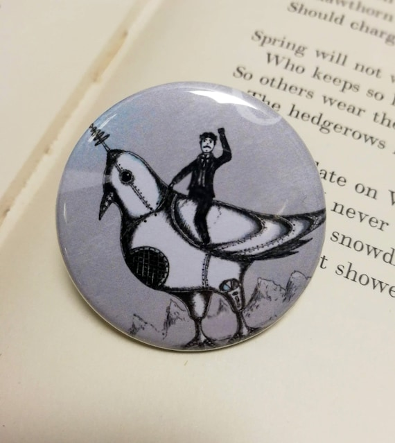 Nikola Tesla Riding A Giant Robotic Laser Pigeon Button Badge