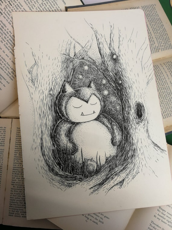 Snoozy Snorlax- Original ink drawing- Pokemon inspired art