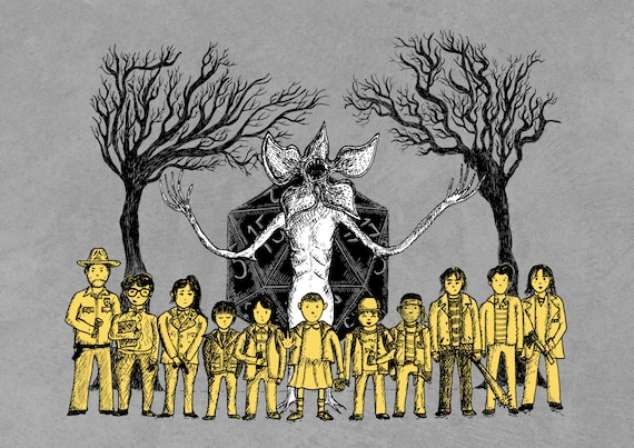 Stranger Things inspired art print- The Hawkins Tinies- A4 A3 8x10