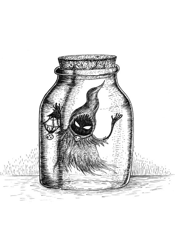 Poe in a Bottle- art print- Zelda Ocarina of Time Inspired- A4 A3 8x10