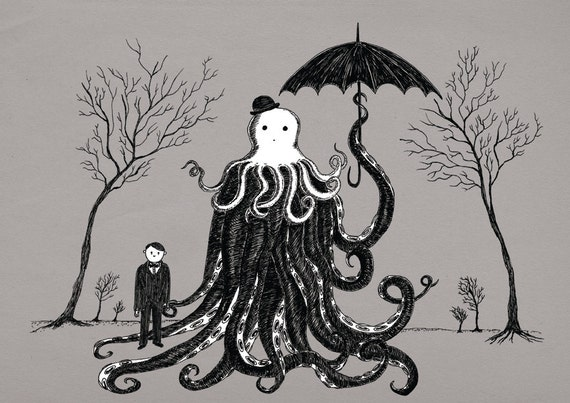 Young Master Lovecraft finds a friend- art print by Jon Turner- geeky HP Lovecraft pen and ink artwork- A4 A3 8x10