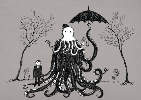 Young Master Lovecraft finds a friend- art print by Jon Turner- geeky HP Lovecraft pen and ink artwork