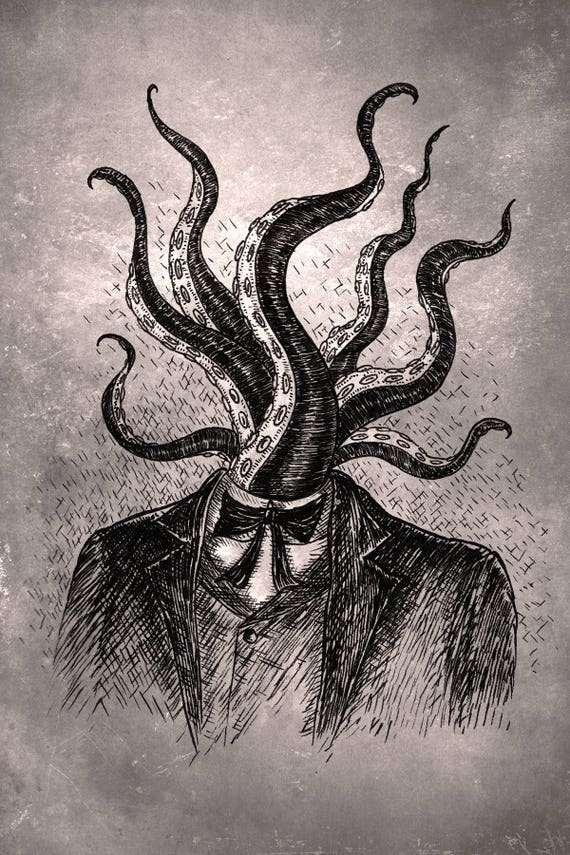 Tentacle Head- art print by Jon Turner- geeky HP Lovecraft pen and ink artwork- A4 A3 8x10
