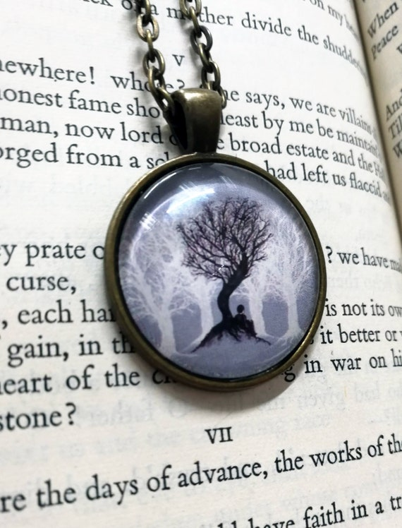 Beneath the Branches Pendant Necklace- trees artwork in antique bronze setting