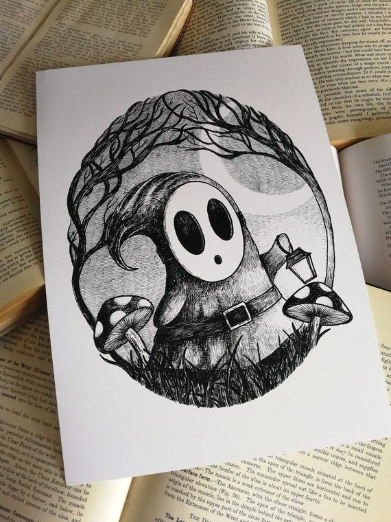 Spooky Shy Guy art print- videogame inspired gothic artwork