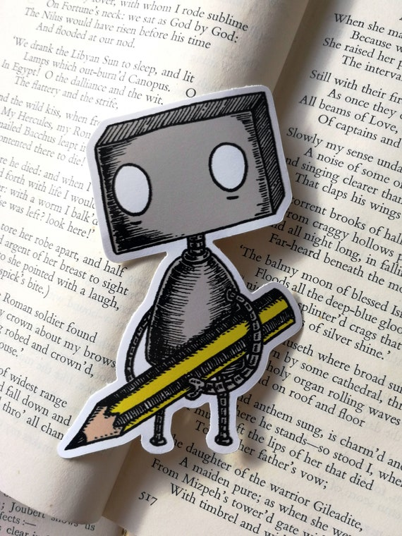 Pencil Robot vinyl sticker- laptop sticker