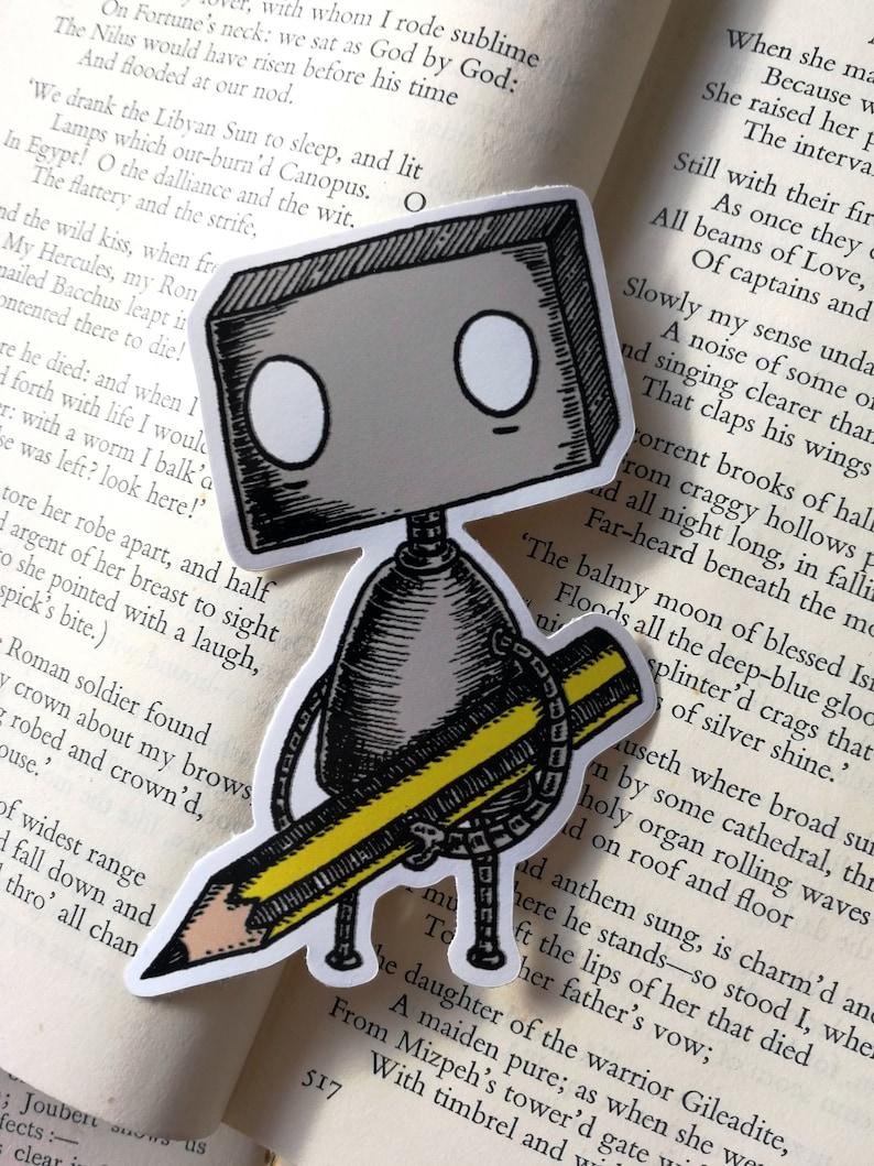 Pencil Robot vinyl sticker- laptop sticker